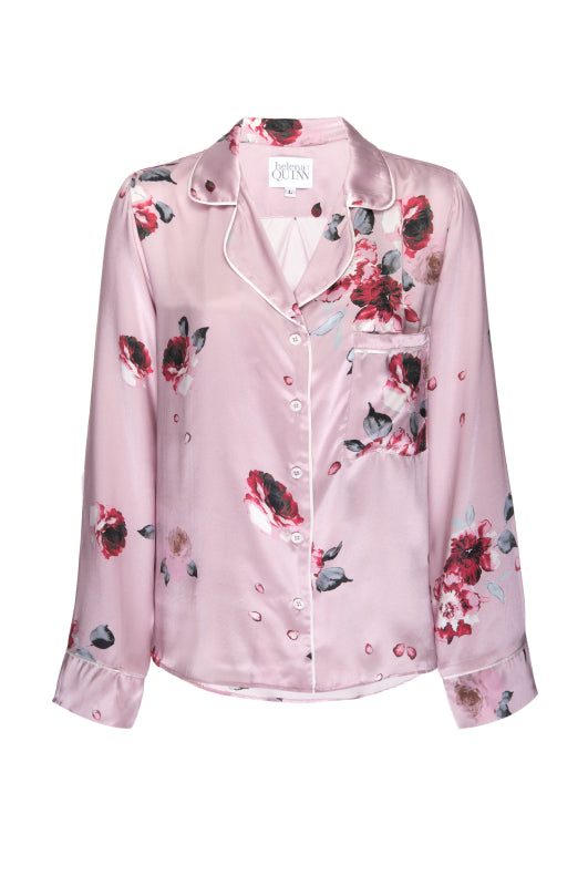 Silk Charmeuse Long Sleeved PJ Top: Blush and Crimson Floral Print