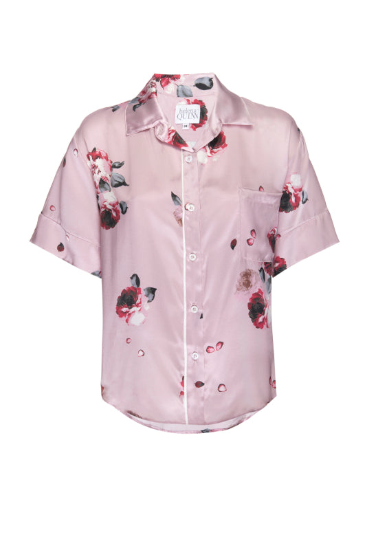 Silk Charmeuse Short Sleeved PJ Top: Blush and Crimson Floral Print