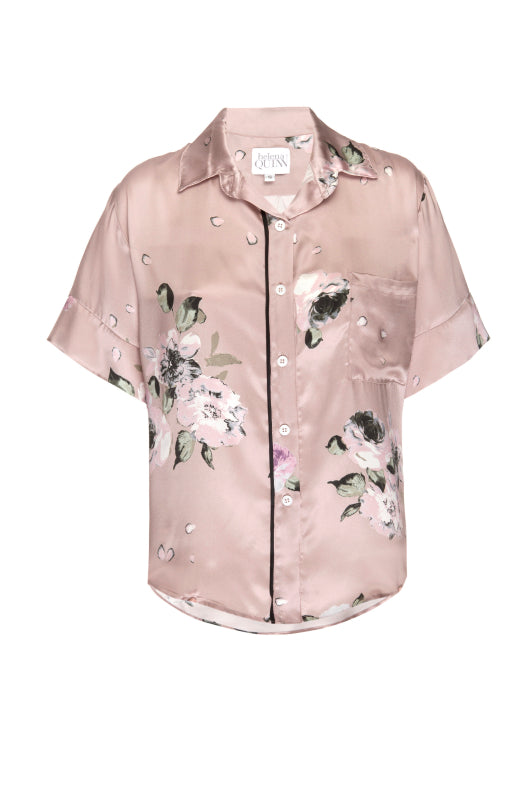 Silk Charmeuse Short Sleeved Top: Champagne Floral Print