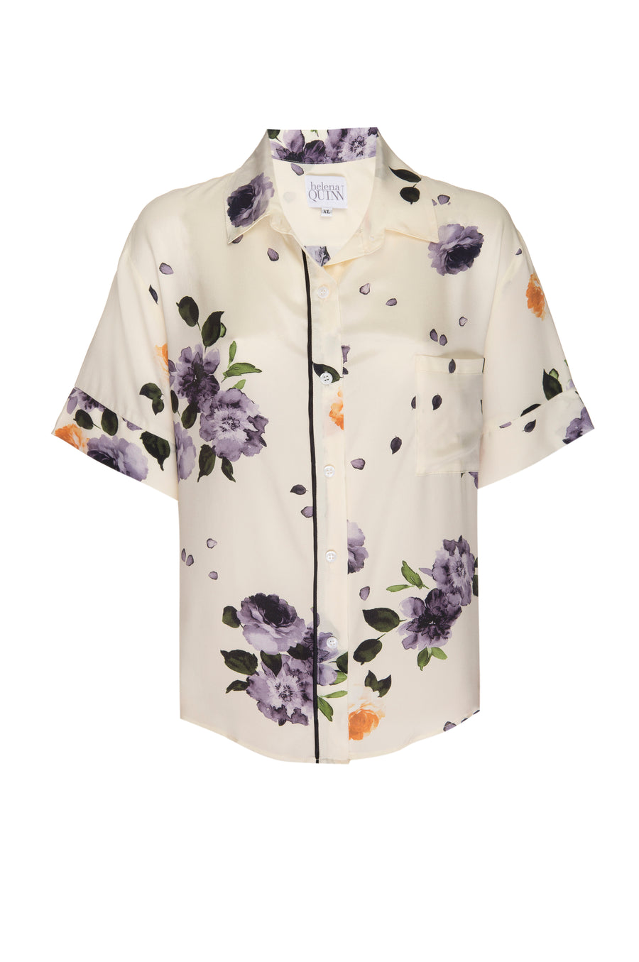 Silk Charmeuse Short Sleeved PJ Top: Garden Floral Print