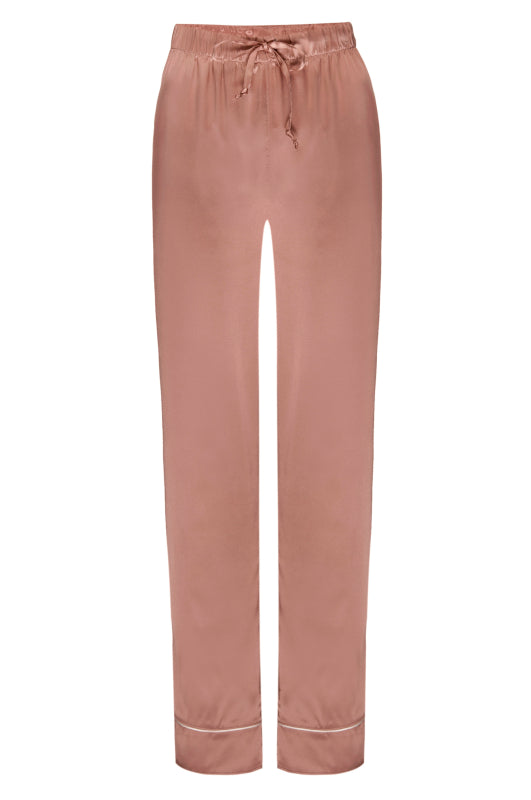 Silk Charmeuse Pants: Apricot