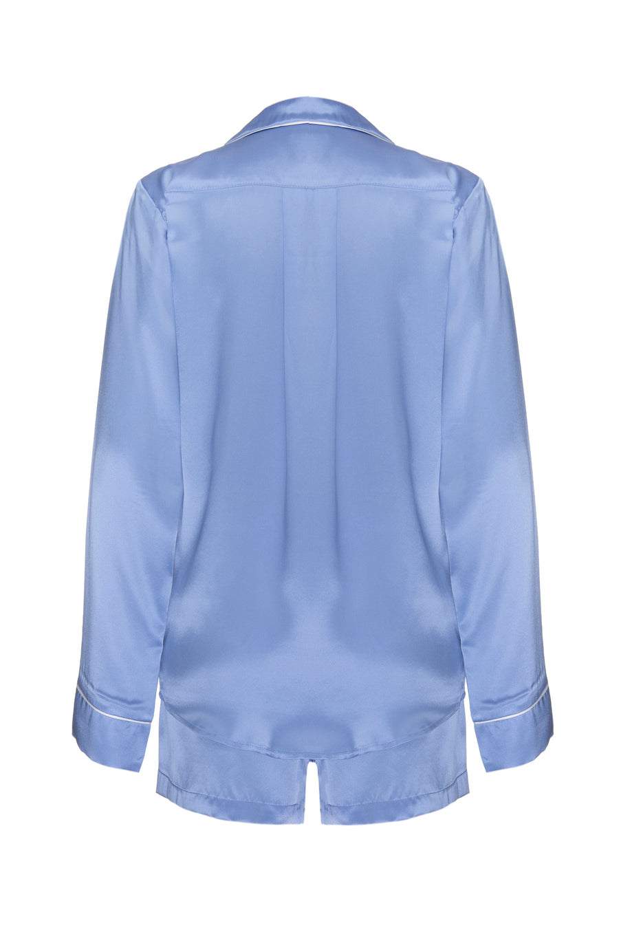 Silk Charmeuse Long Sleeved PJ Top: Sky Blue
