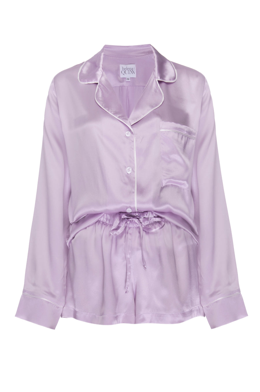 Silk Charmeuse Long Sleeved PJ Top: Lilac