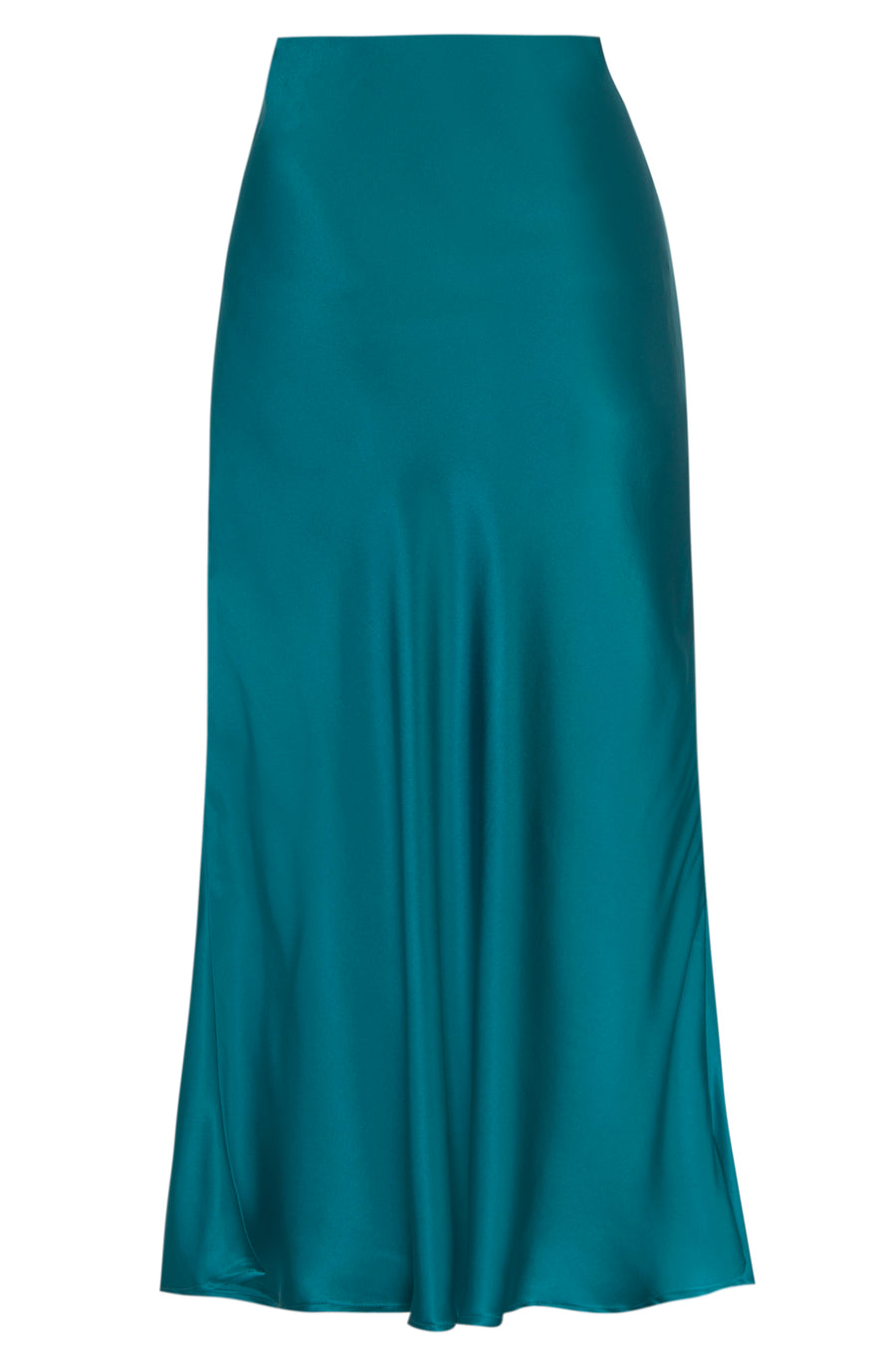 Silk Charmeuse 'Katie' Bias Skirt: Emerald
