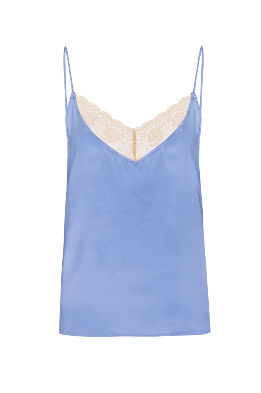 Silk Charmeuse 'August' Tank with Lace: Sky Blue