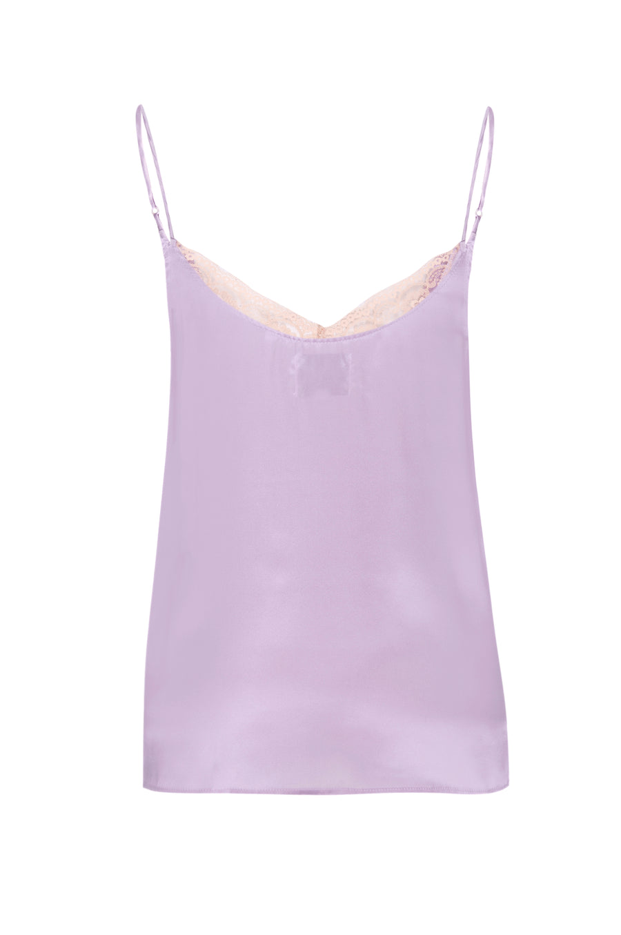 Silk Charmeuse 'August' Tank with Lace: Lilac