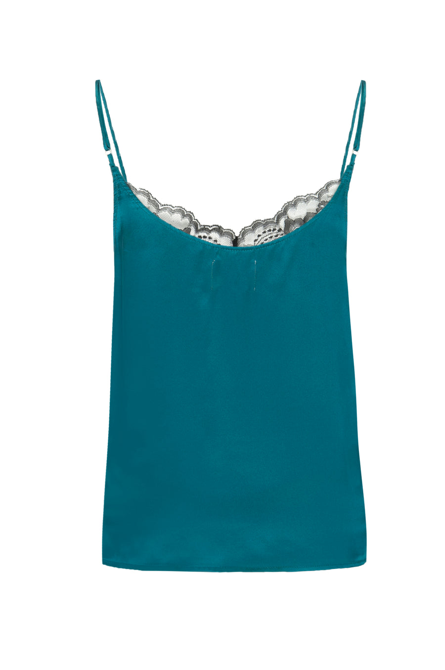 Silk Charmeuse 'August' Tank with Lace: Emerald