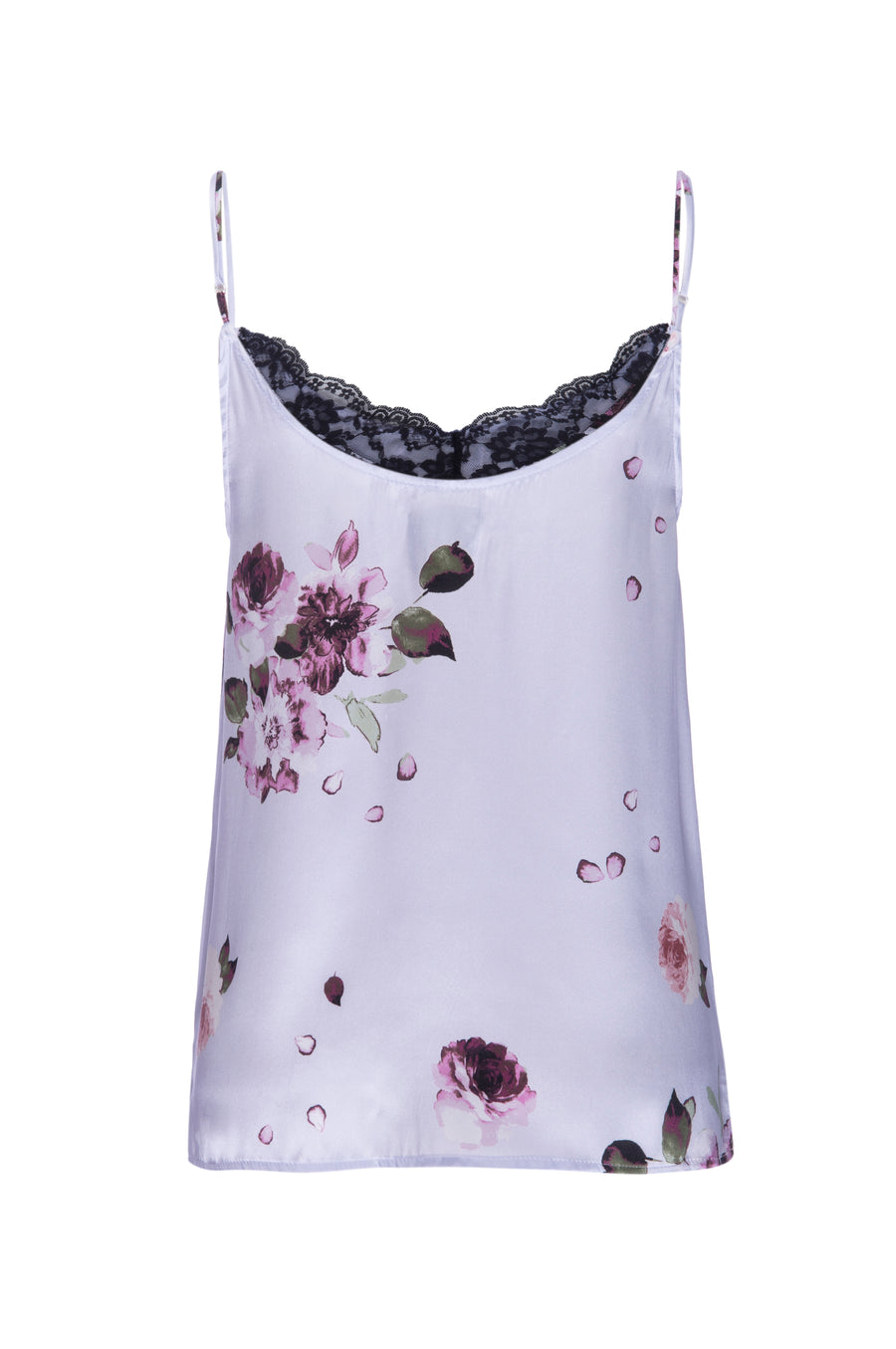 Silk Charmeuse Tank with Lace: Light Blue Floral