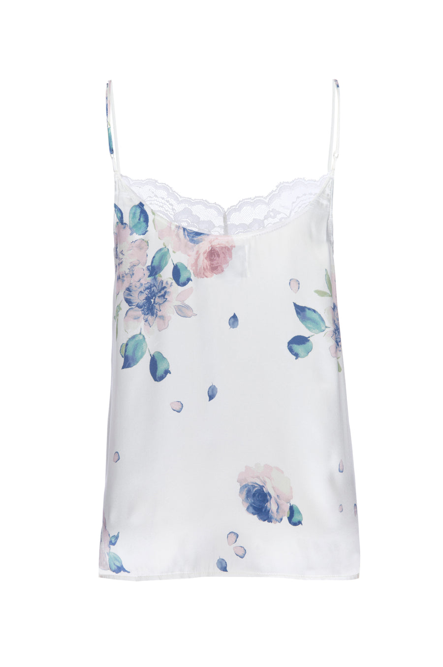 Silk Charmeuse Tank with Lace: Ivory Floral Print