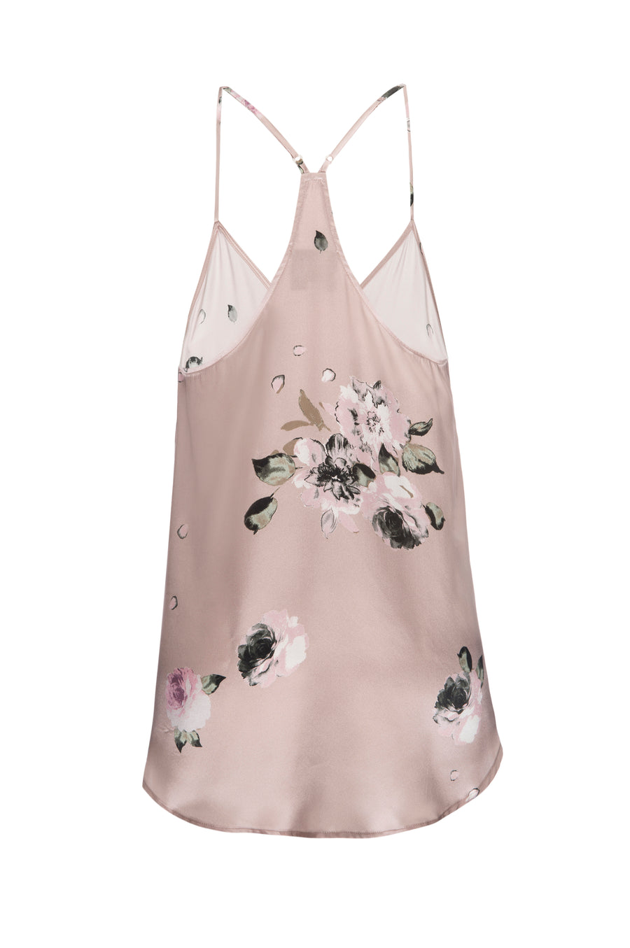 Silk Charmeuse Tank: Champagne Floral Print