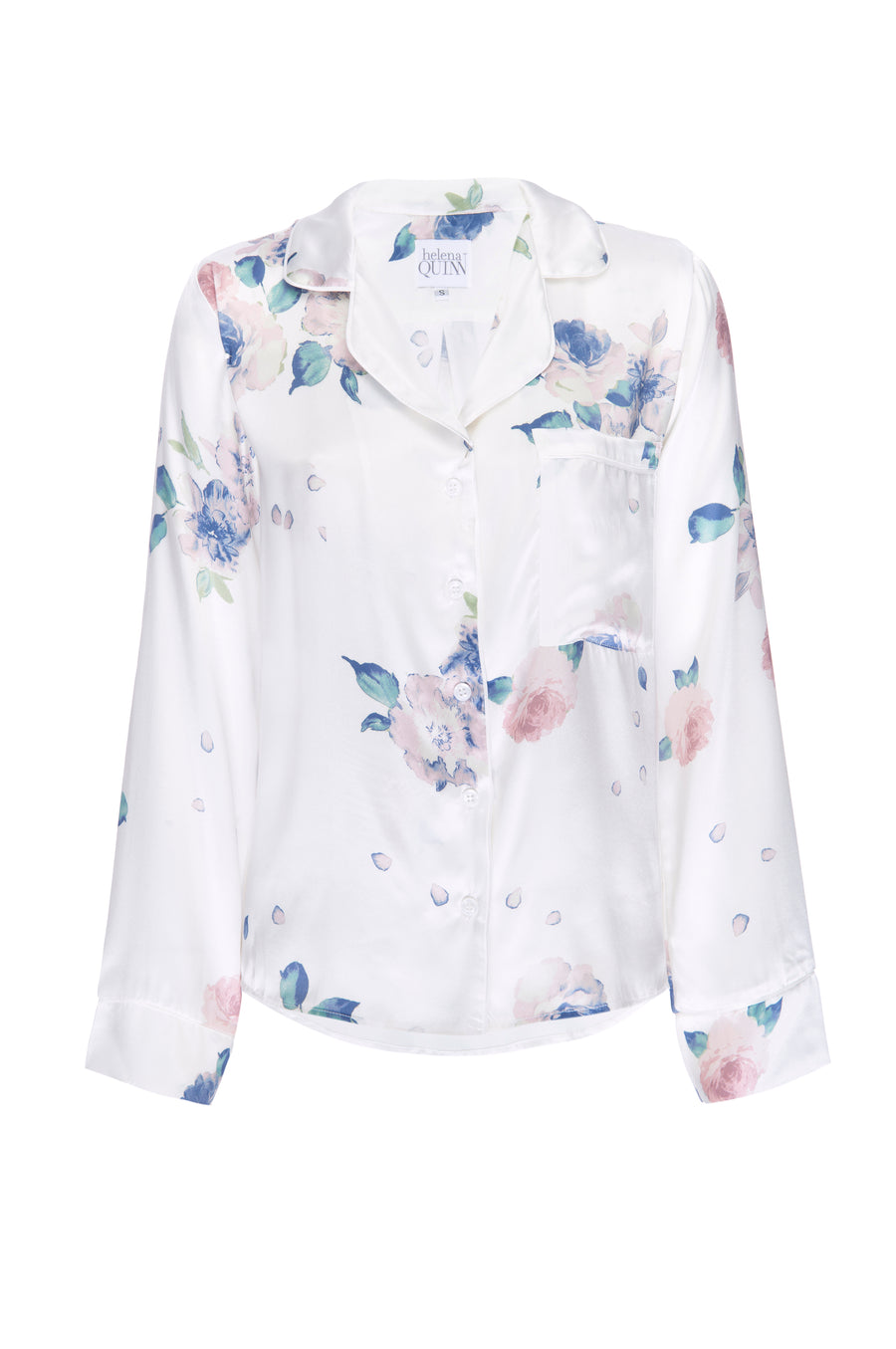 Silk Charmeuse Long Sleeved PJ Top: Ivory Floral Print