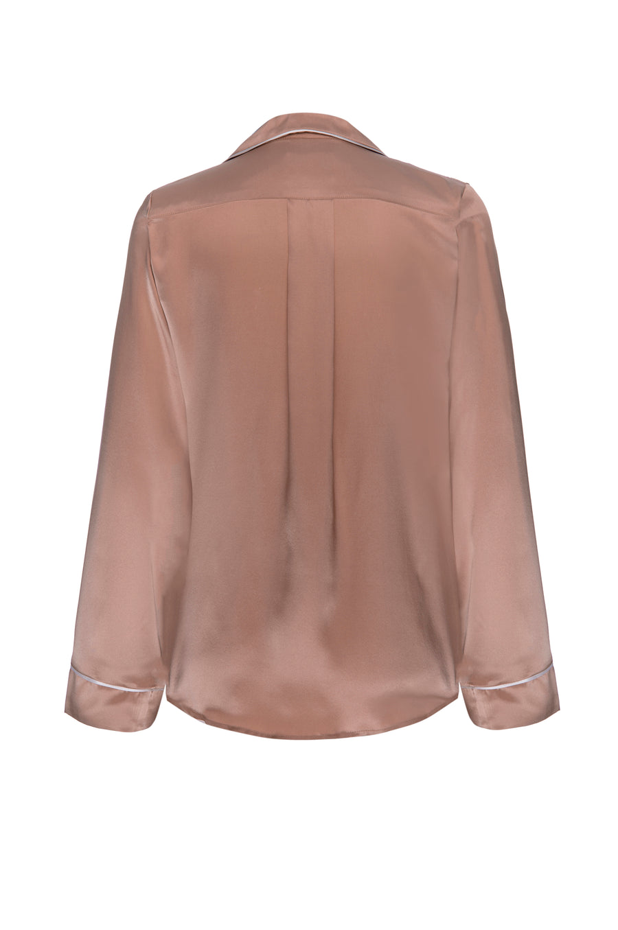Silk Charmeuse Long Sleeved Top: Apricot