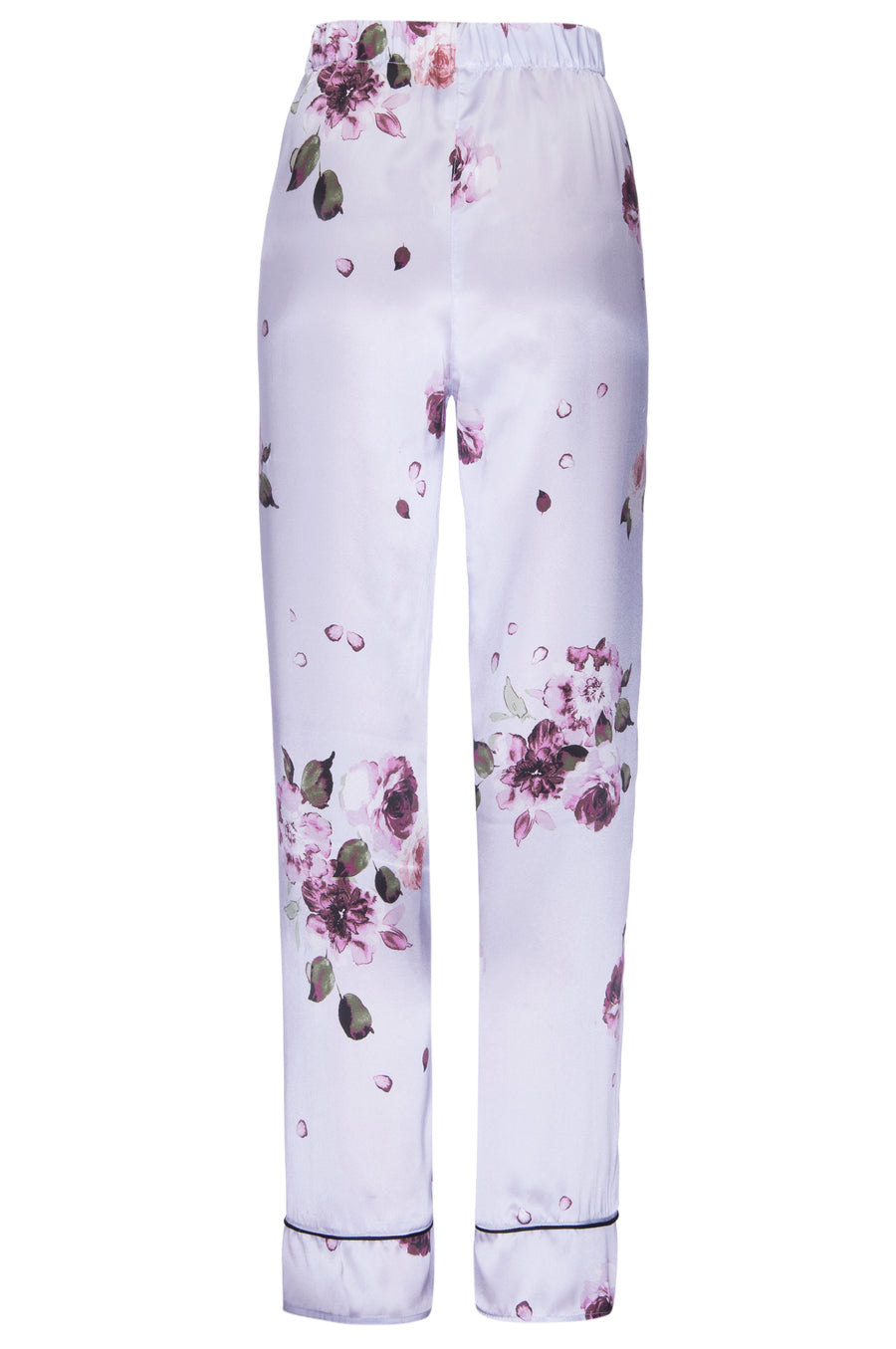 Silk Charmeuse PJ Pants: Light Blue Floral Print