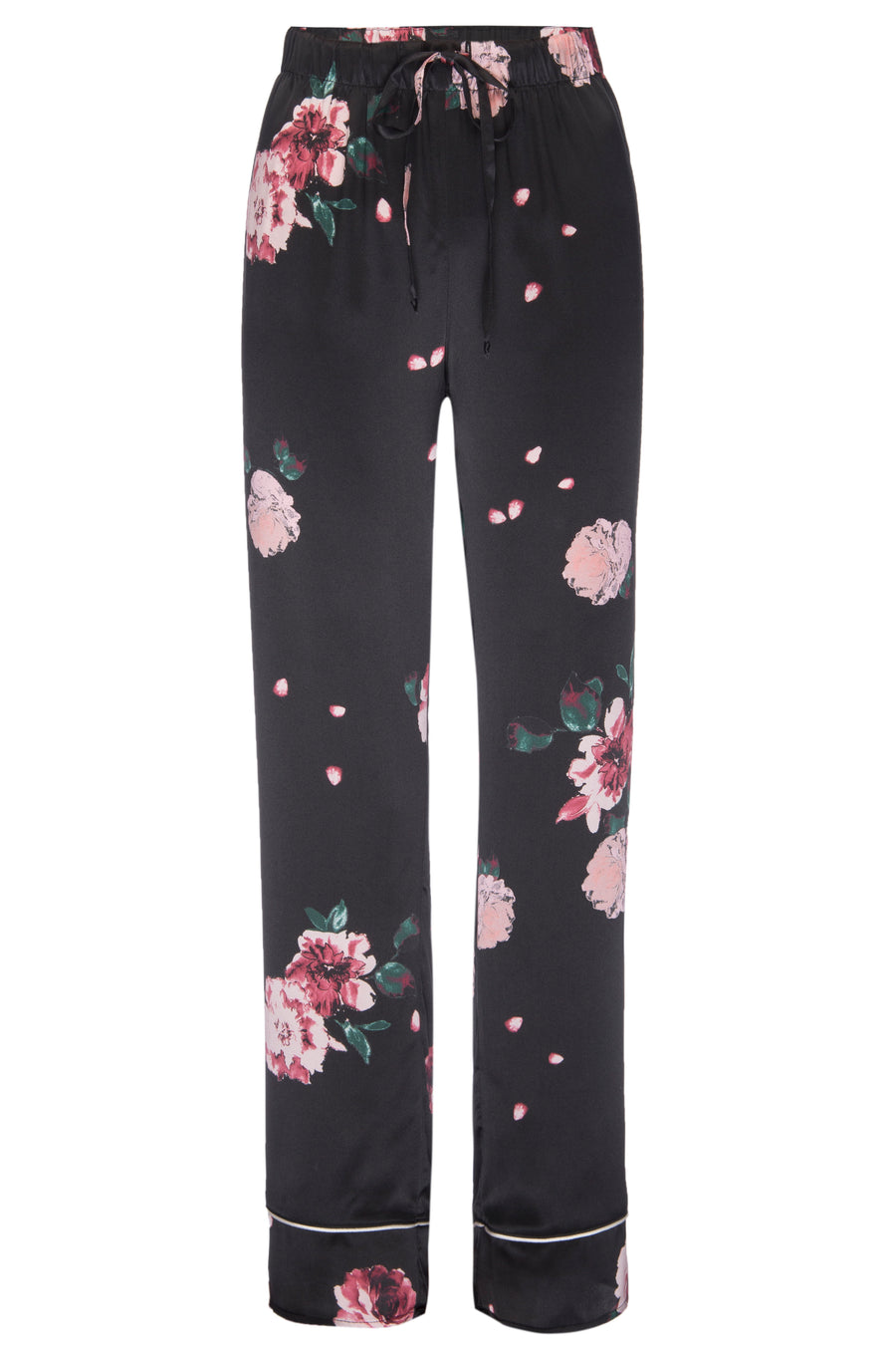 Silk Charmeuse PJ Pants: Black Rose Print