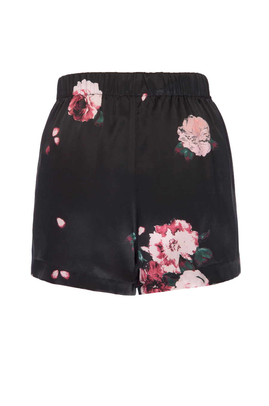 Silk Charmeuse PJ Shorts: Black Rose Print
