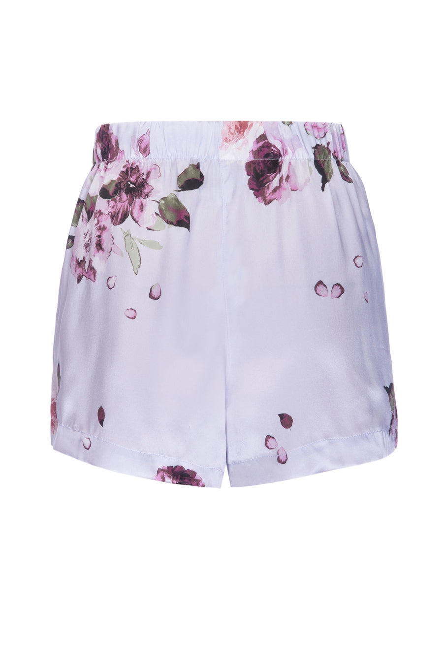Silk Charmeuse PJ Shorts: Light Blue Floral Print