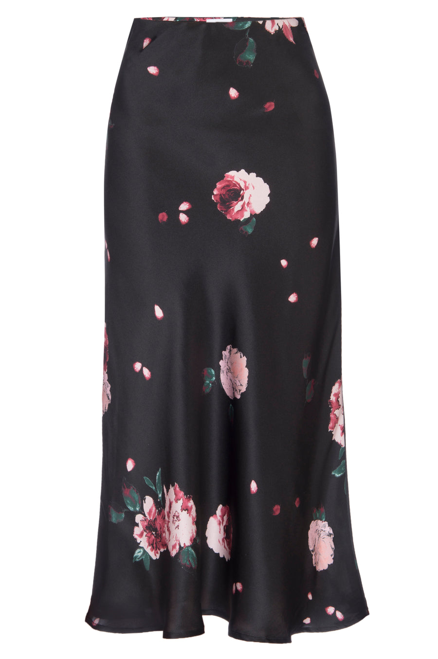 Silk Charmeuse 'Katie' Bias Skirt: Black Rose Print