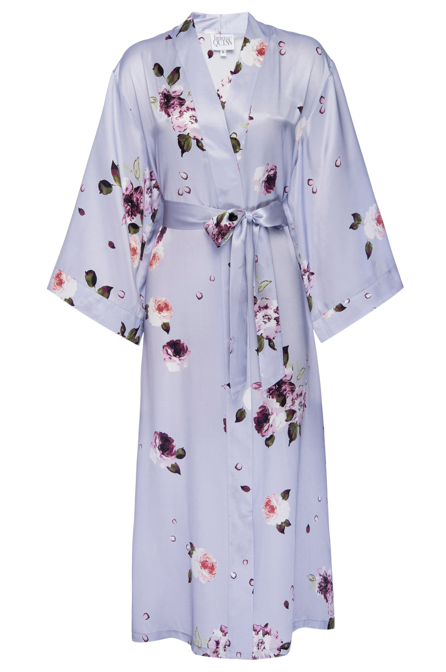 Silk Charmeuse Long Silk Robe: Light Blue Floral Print