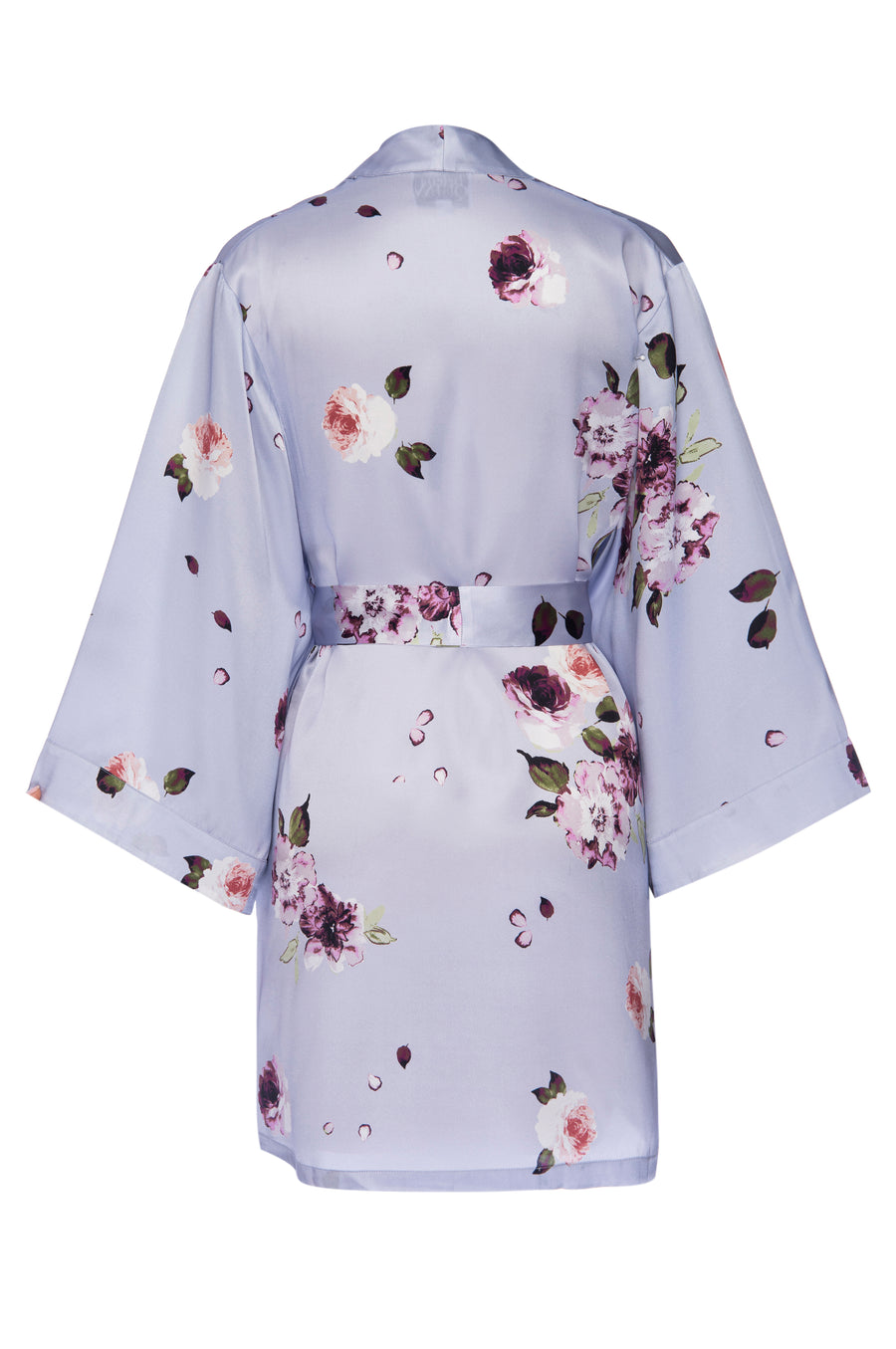 Silk Charmeuse Short Silk Robe: Light Blue Floral Print