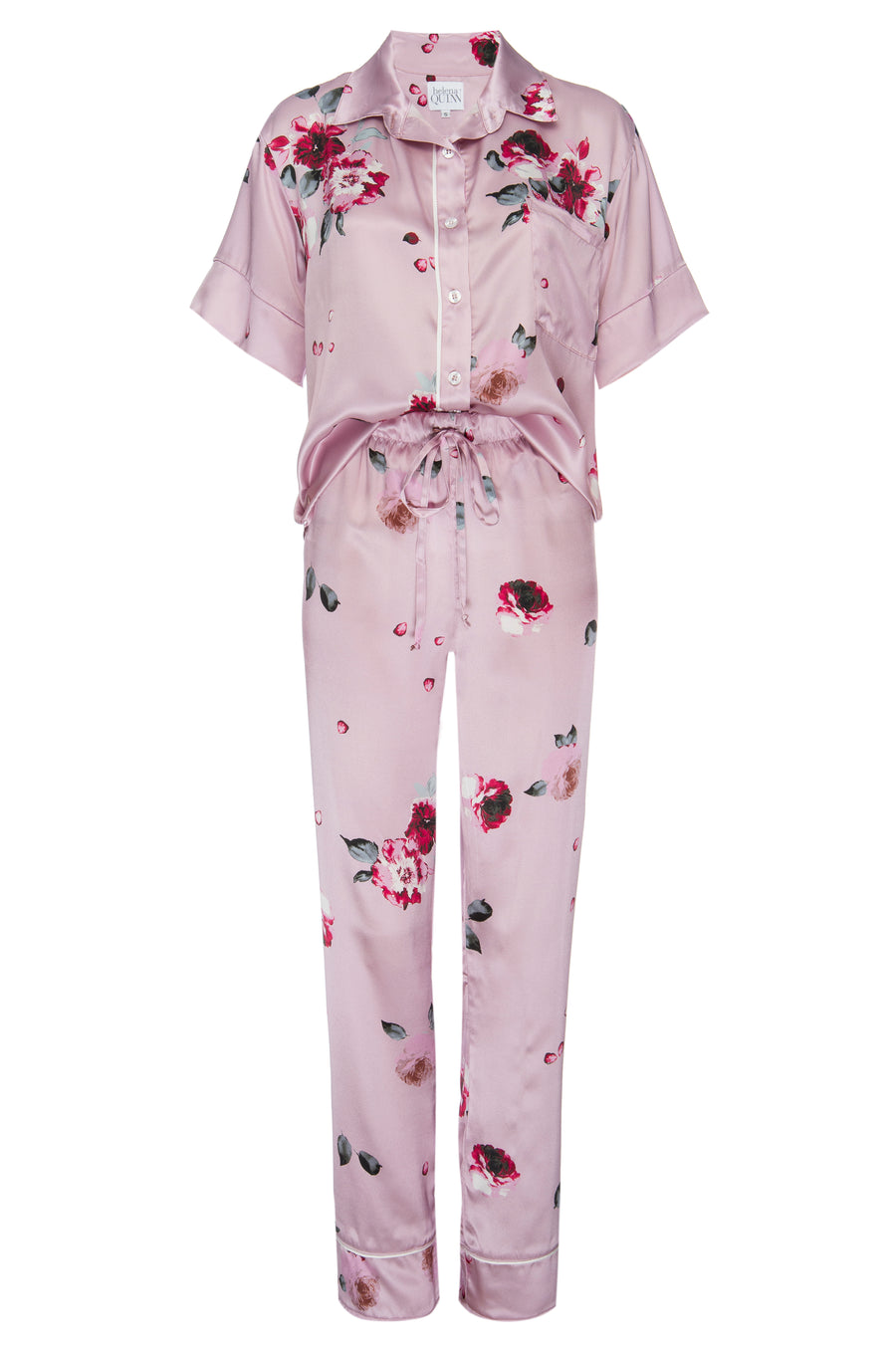 Silk Charmeuse Short Sleeved PJ Top + Pant Set: Blush and Crimson Rose Print