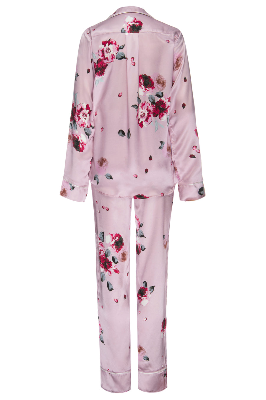 Silk Charmeuse Long Sleeved PJ Top + Pant Set: Blush and Crimson Rose Print