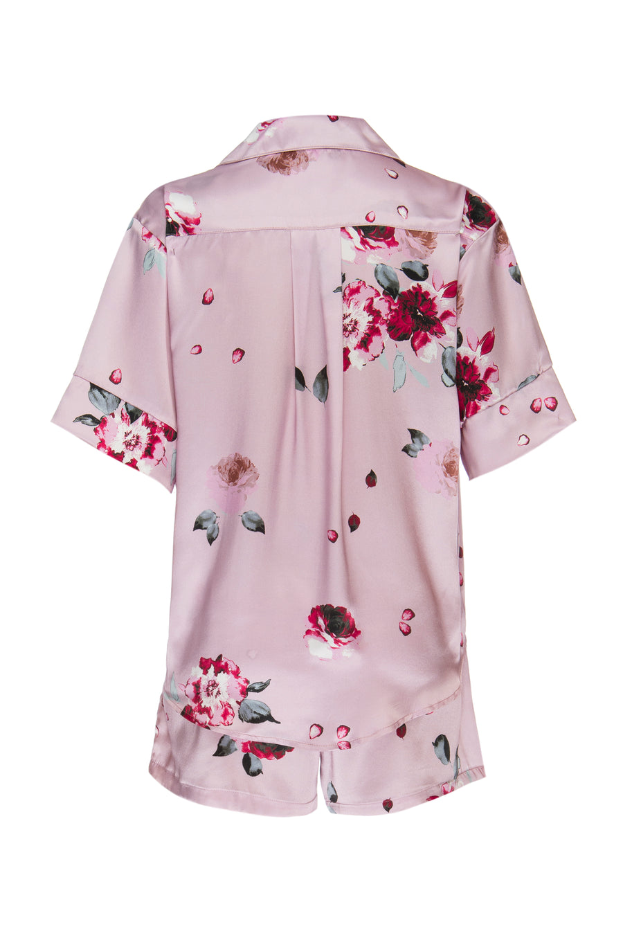 Silk Charmeuse Short Sleeved PJ Top + Short Set: Blush and Crimson Rose Print