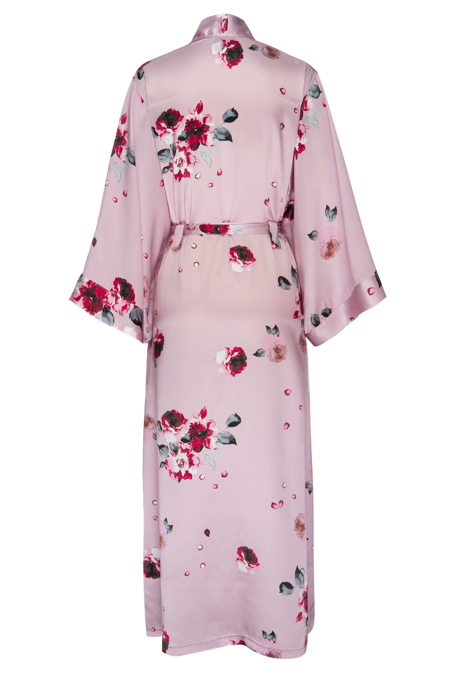 Silk Charmeuse Long Silk Robe: Blush and Crimson Rose Print