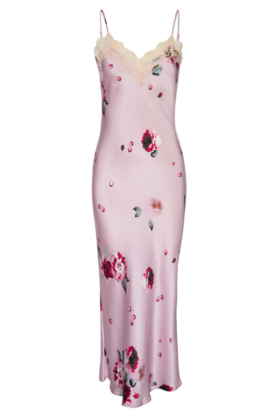 Silk 'Katie' Bias Slip: Blush and Crimson Rose Print