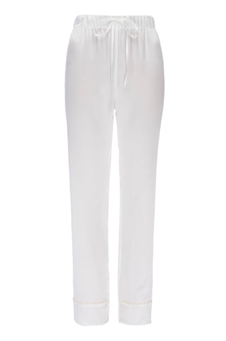 "NEW: ""Joey"" Pajama Pant in White Silk Charmeuse"