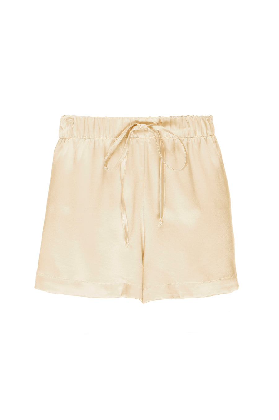 Silk Charmeuse Shorts: Butter Yellow