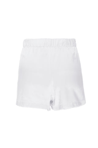 "NEW: ""Sammy"" Pajama Shorts in White Silk Charmeuse"
