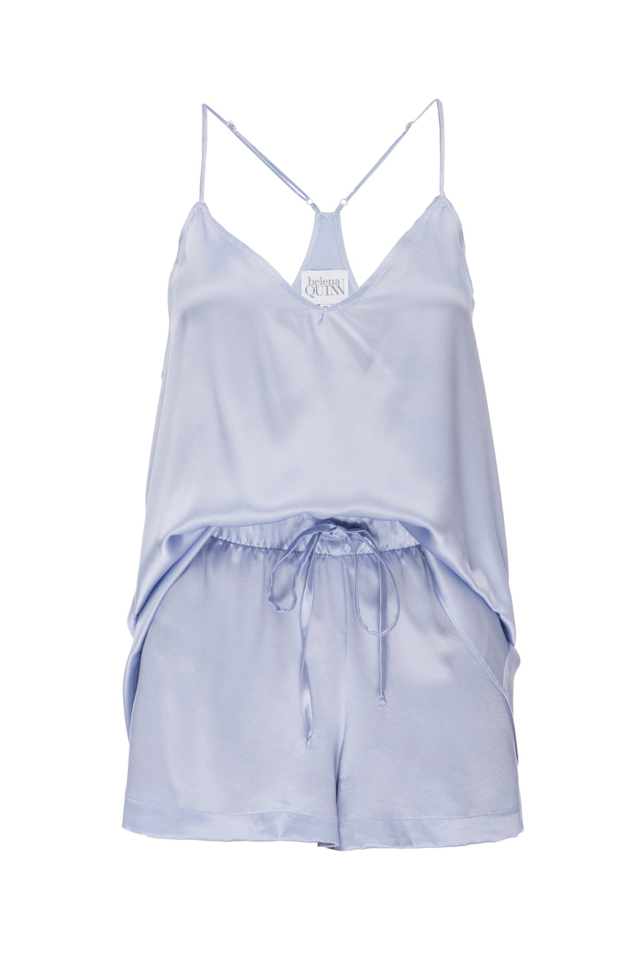 Silk Charmeuse Tank + Short Set: Ice Blue