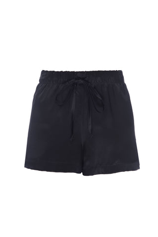 "NEW: ""Sammy"" Pajama Short in Black Silk Charmeuse"
