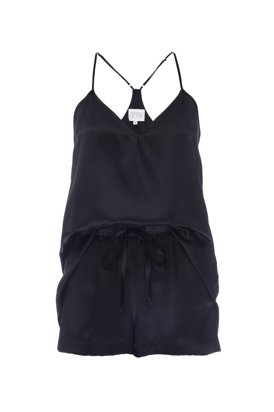 Silk Charmeuse Tank + Short Set: Black