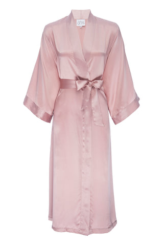 NEW: 'Rose Gold' Silk Kimono Robe- Full Length