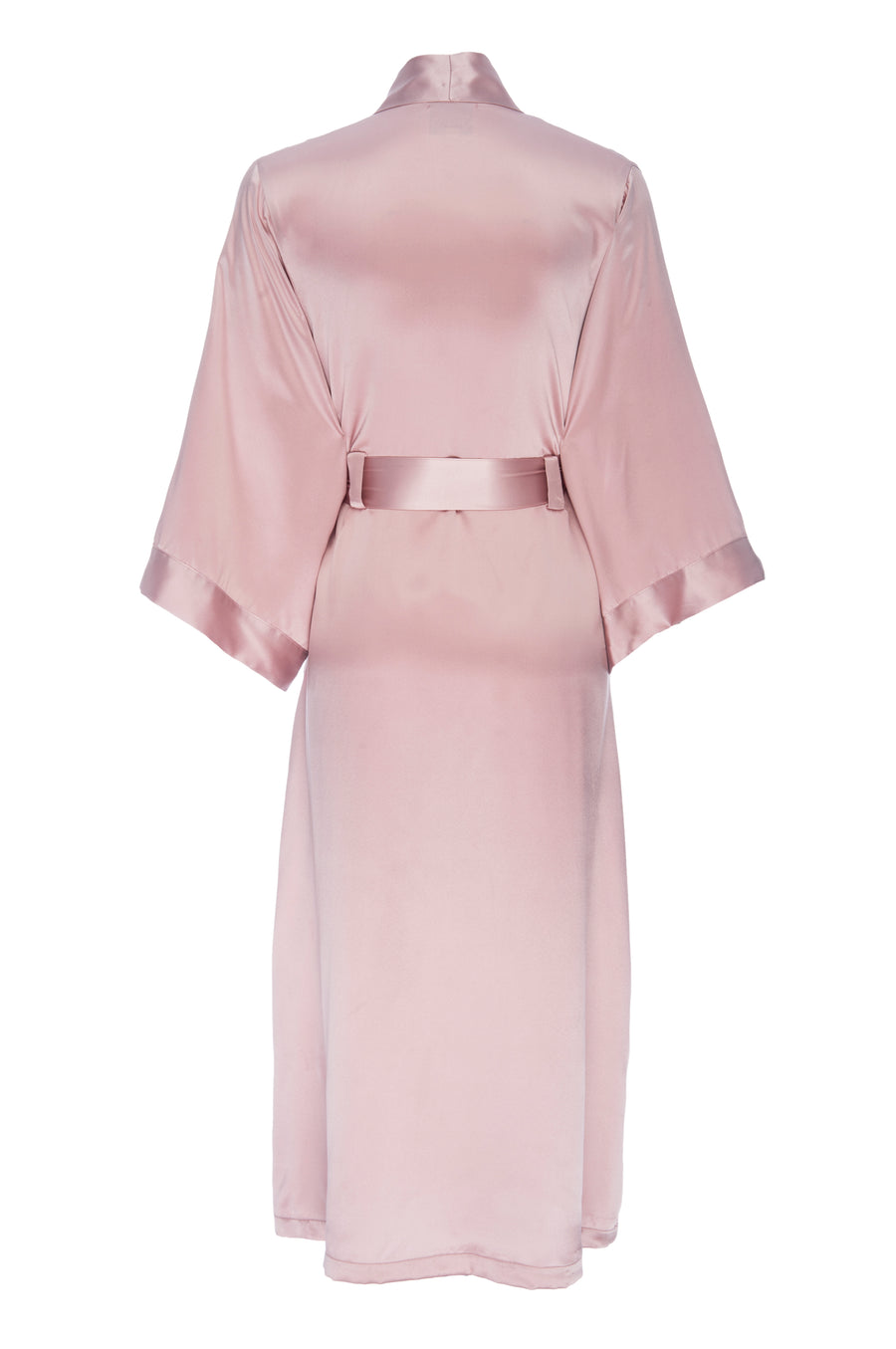 Silk Charmeuse Long Robe: Rose Gold