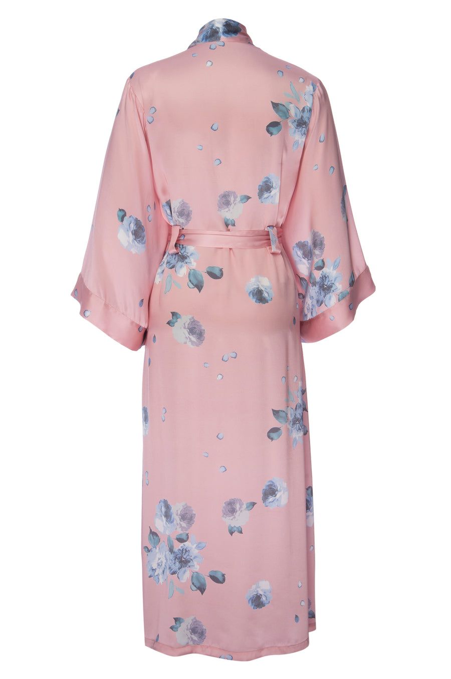 Silk Charmeuse Long Robe: Rose Gold Floral Print