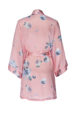 NEW: Rose Gold Floral Print- Short Silk Charmeuse Robe