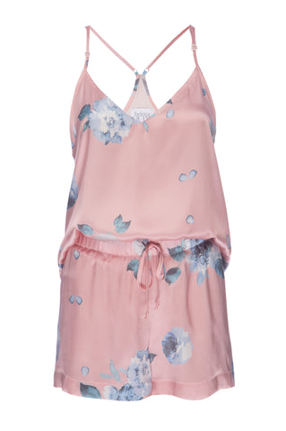 NEW: Silk Tank and Short Set in 'Rose Gold Floral Print' Silk Charmeuse