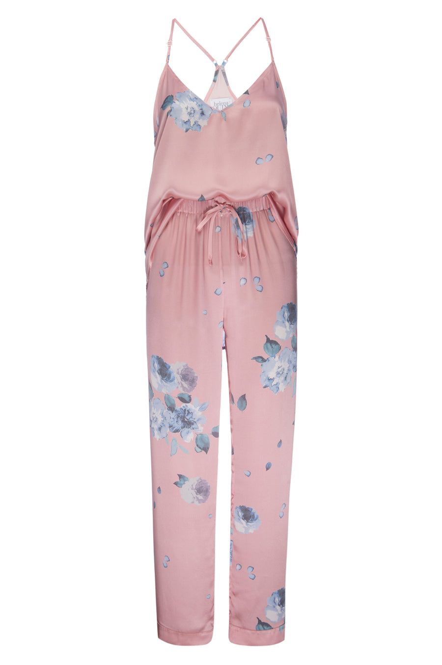 Silk Charmeuse Tank + Pant Set: Rose Gold Floral Print