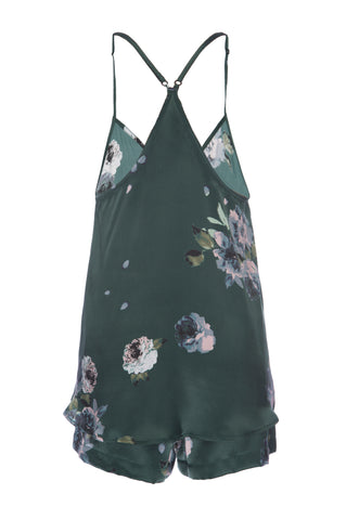 NEW: Silk Tank and Short Set in Emerald Floral Print Silk Charmeuse