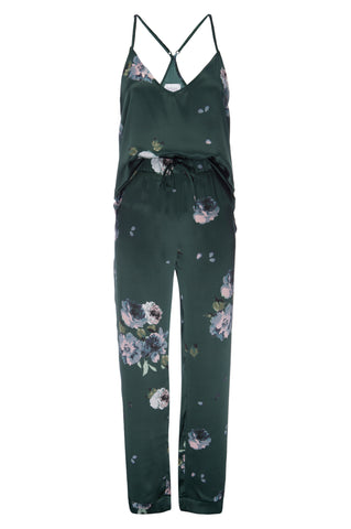 NEW: Silk Tank and Pant Set in Emerald Floral Print Silk Charmeuse
