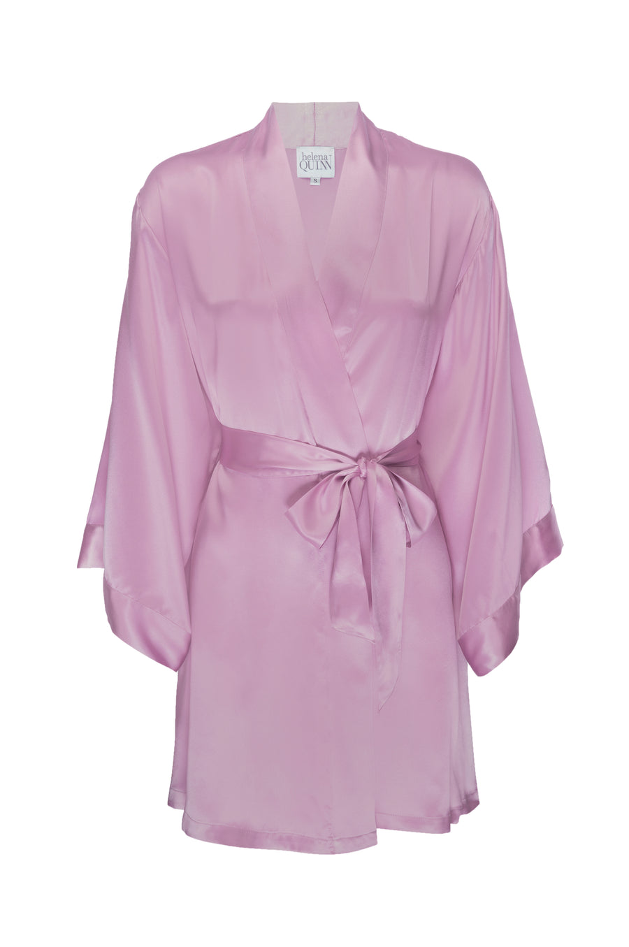 Silk Charmeuse Short Silk Robe: Orchid Pink