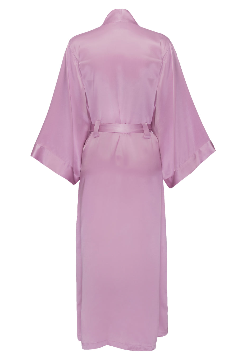 Silk Charmeuse Long Silk Robe: Orchid Pink