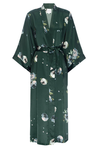 NEW: Emerald Rose Floral Print- Full Length Silk Robe
