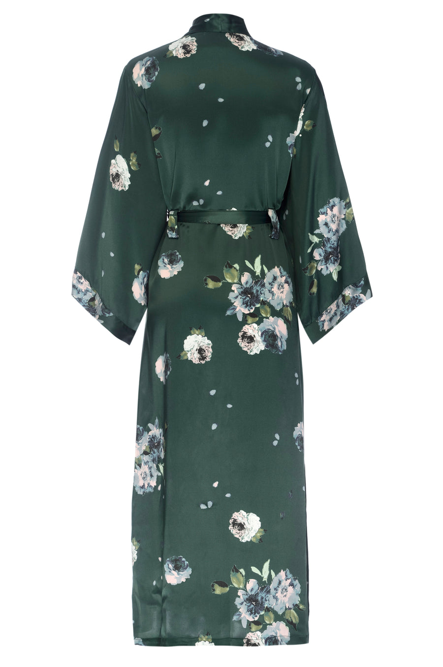 Silk Charmeuse Long Silk Robe: Emerald Rose Print Silk Robe