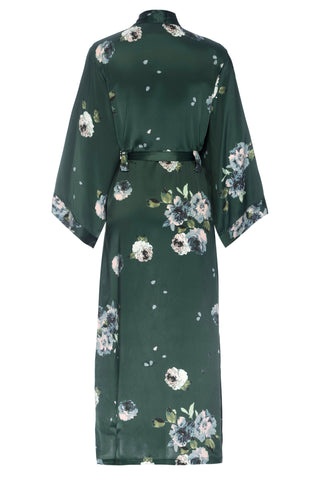 NEW HOLIDAY: Emerald Rose Print- Full Length Silk Robe
