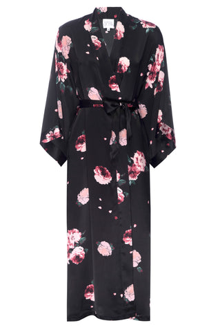 NEW HOLIDAY: Black Rose Print Silk Robe- Full Length