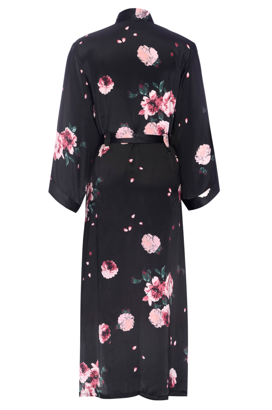 Silk Charmeuse Long Silk Robe: Black Rose . Print