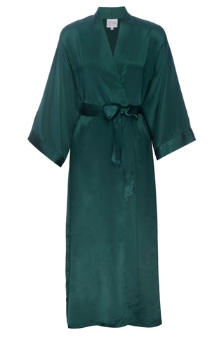 NEW HOLIDAY: Emerald Green Silk Robe- Full Length